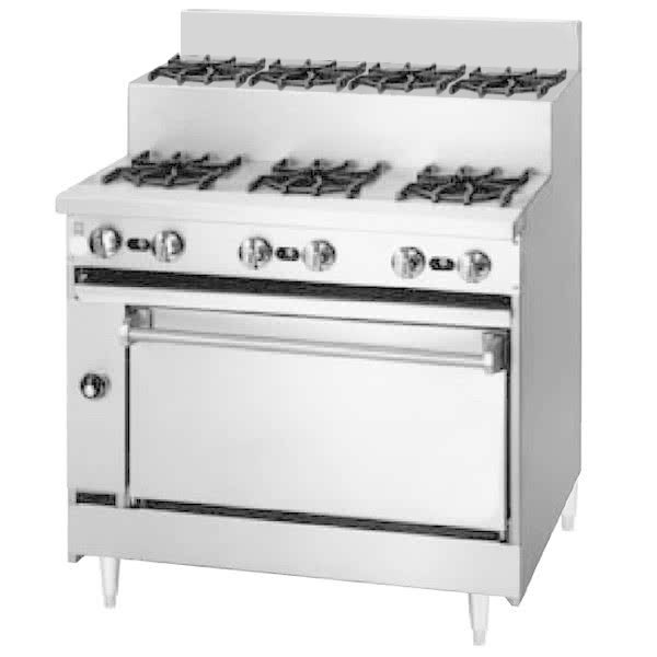 "Blodgett BRE-3-4-36 Liquid Propane 7 Burner 36"" Step-Up Range with Oven Base - 150,000 BTU Main Image 1"