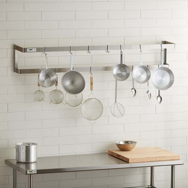 "Regency 72"" Stainless Steel Wall Mounted Double Line Pot Rack with 18 Galvanized Double Prong Hooks Main Image 3"