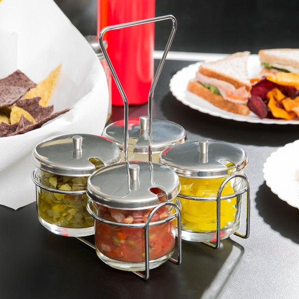 4 compartment wire condiment caddy with 7 oz glass jars and stainless steel lids - Condiment Caddy