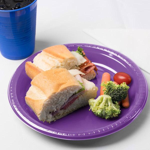 "Creative Converting 318917 9"" Amethyst Purple Plastic Plate - 240/Case"