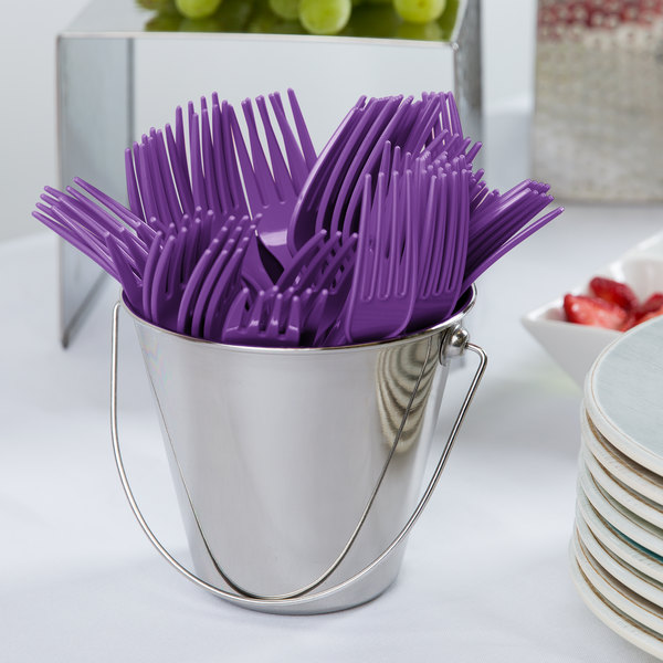 "Creative Converting 318908 7 1/8"" Amethyst Purple Heavy Weight Plastic Fork - 288/Case"