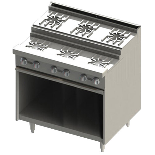 "Blodgett BRE-3-3 Liquid Propane 6 Burner 36"" Step-Up Range with Cabinet Base - 120,000 BTU Main Image 1"