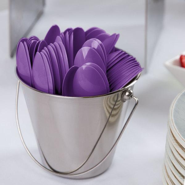 "Creative Converting 318911 6 1/8"" Amethyst Purple Heavy Weight Plastic Spoon - 288/Case Main Image 2"
