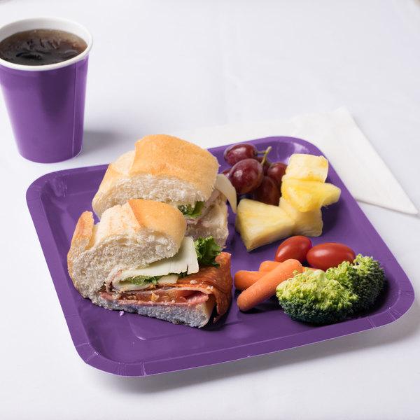 "Creative Converting 318925 9"" Amethyst Purple Square Paper Plate - 180/Case"
