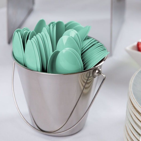 """Creative Converting 318872 6 1/8"""" Fresh Mint Green Heavy Weight Plastic Spoon - 288/Case"""