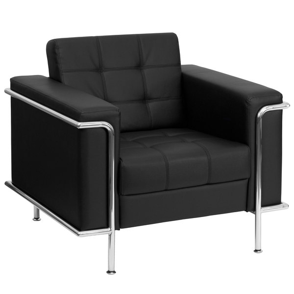 Flash Furniture ZB-LESLEY-8090-CHAIR-BK-GG Contemporary Black Leather Chair with Encasing Frame