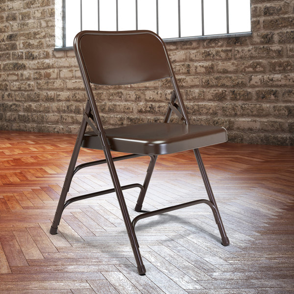 National Public Seating 303 Brown Premium Metal Triple-Brace Folding Chair Main Image 3