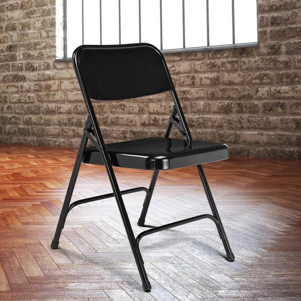 National Public Seating 210 Black Premium Metal Folding Chair Main Image 3