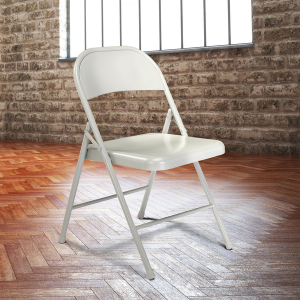 National Public Seating 902 Commercialine Gray Metal Folding Chair Main Image 3