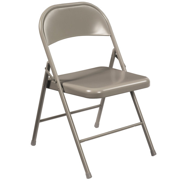 National Public Seating 902 Commercialine Gray Metal Folding Chair