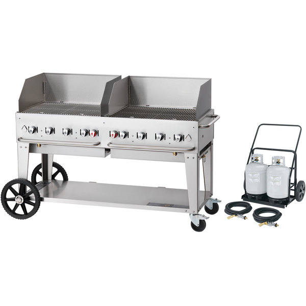 "Crown Verity MCC-60WGP 60"" Mobile Outdoor Cart Grill with 2 Vertical Propane Tanks and Wind Guard Package Main Image 1"
