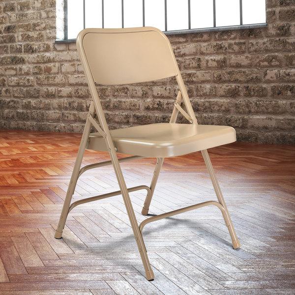 National Public Seating 301 Beige Premium Metal Triple-Brace Folding Chair Main Image 3