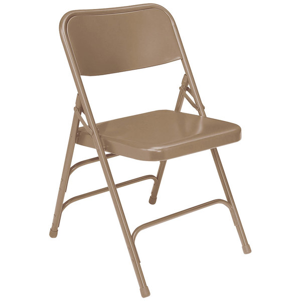 National Public Seating 301 Beige Premium Metal Triple-Brace Folding Chair