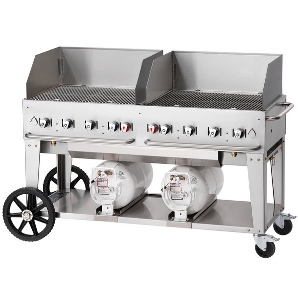 """Crown Verity CCB-60WGP 60"""" Outdoor Club Grill with 2 Horizontal Propane Tanks and Wind Guard Package Main Image 1"""