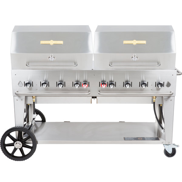 """Crown Verity MCB-60RDP Natural Gas 60"""" Mobile Outdoor Grill with Roll Dome Package Main Image 1"""