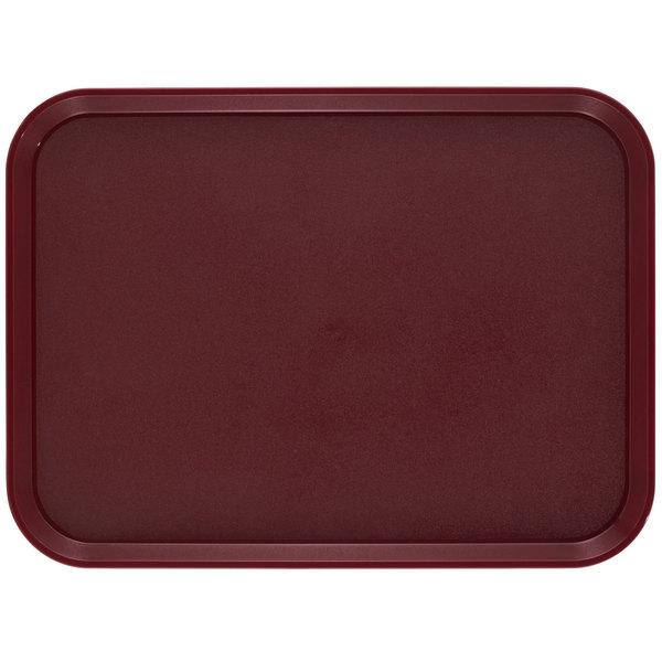 "Cambro 1418CWNS488 Camwear 14"" x 18"" Dark Cranberry Rectangular Polycarbonate Non-Skid Tray - 12/Case"