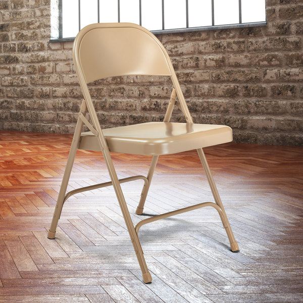 National Public Seating 51 Beige Metal Folding Chair Main Image 3
