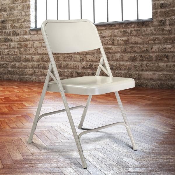 National Public Seating 202 Gray Premium Metal Folding Chair Main Image 3