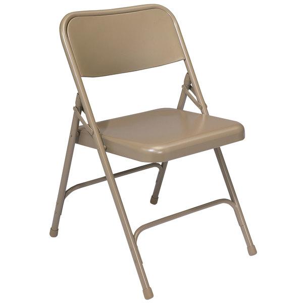 National Public Seating 201 Beige Premium Metal Folding Chair