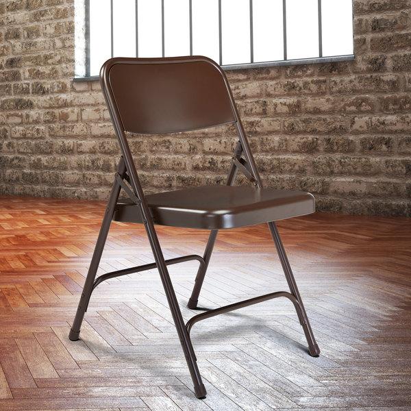 National Public Seating 203 Brown Premium Metal Folding Chair Main Image 3