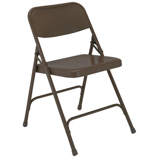 National Public Seating 203 Brown Premium Metal Folding Chair