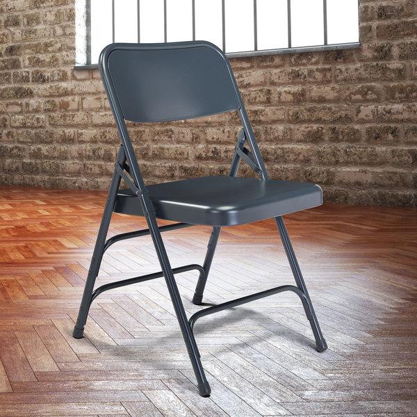 National Public Seating 304 Char-Blue Premium Metal Triple-Brace Folding Chair Main Image 3