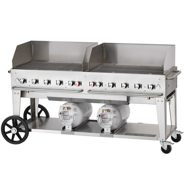 "Crown Verity CCB-72WGP 72"" Outdoor Club Grill with 2 Horizontal Propane Tanks and Wind Guard Package Main Image 1"