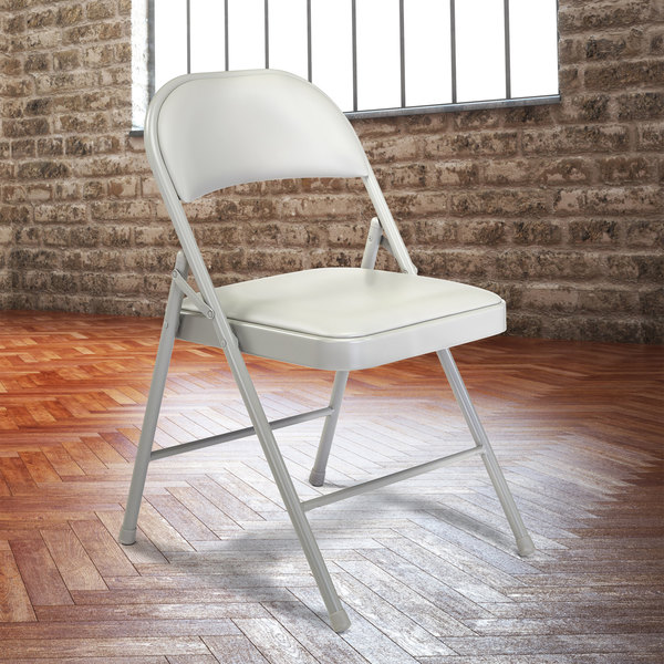 National Public Seating 952 Commercialine Gray Metal Folding Chair with Gray Padded Vinyl Seat Main Image 3