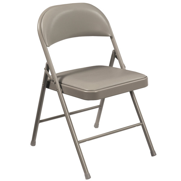 National Public Seating 952 Commercialine Gray Metal Folding Chair with Gray Padded Vinyl Seat