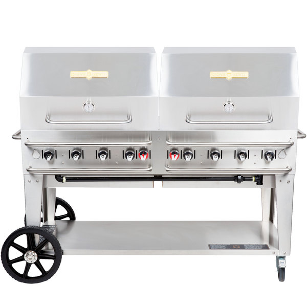 "Crown Verity RCB-60RDP-SI-LP 60"" Pro Series Outdoor Rental Grill with Single Gas Connection and Roll Dome Package Main Image 1"