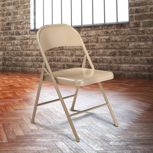 National Public Seating 901 Commercialine Beige Metal Folding Chair