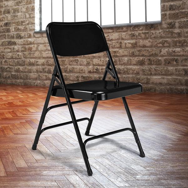 National Public Seating 310 Black Premium Metal Triple-Brace Folding Chair Main Image 3