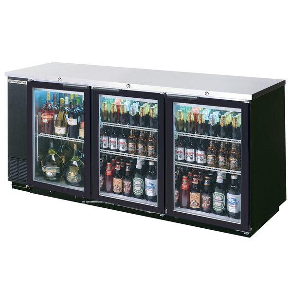 "Beverage Air BB78G-1-BK-LED-WINE 78"" Black Back Bar Wine Series Refrigerator - 3 Glass Doors"