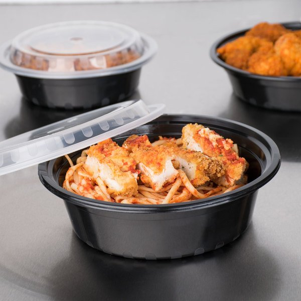 """Choice 32 oz. Black 7 1/4"""" Round Microwavable Heavy Weight Container with Lid - 25/Pack"""