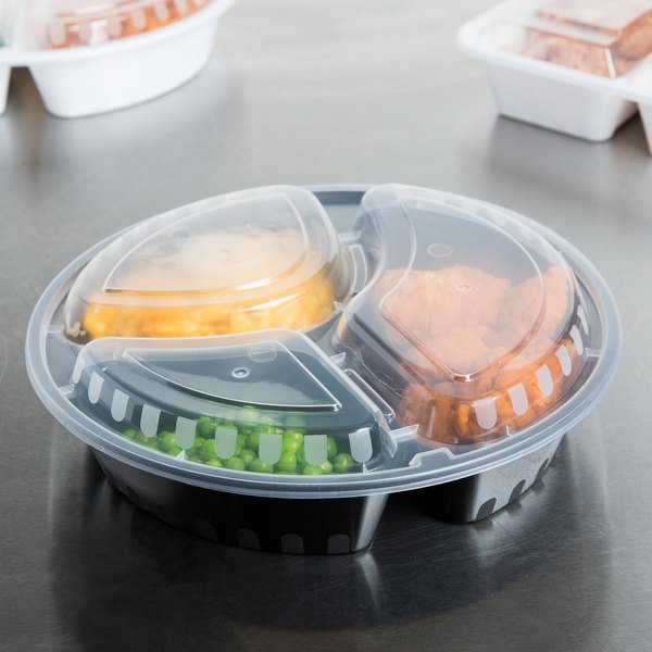 """Choice 33 oz. Black 9"""" Round 3-Compartment Microwavable Heavy Weight Container with Lid - 25/Pack"""