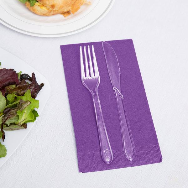 Creative Converting 318942 Amethyst Purple 3-Ply Guest Towel / Buffet Napkin - 192/Case Main Image 2
