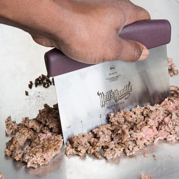 "Mercer Culinary M18370 Hell's Handle High Heat 6"" x 3 1/2"" Bench Scraper"