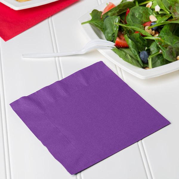 Creative Converting 318929 Amethyst Purple 2-Ply 1/4 Fold Luncheon Napkin - 600/Case Main Image 3