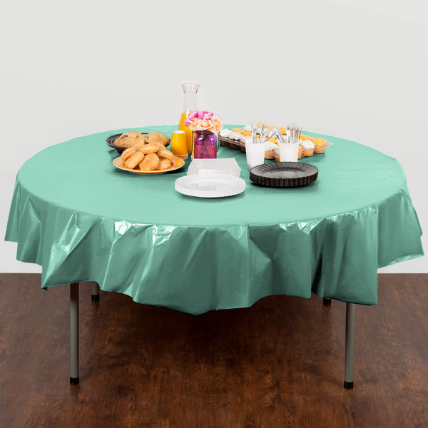 "Creative Converting 318893 82"" Fresh Mint Green OctyRound Plastic Table Cover - 12/Case Main Image 3"