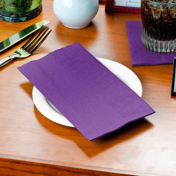Amethyst Purple Paper Dinner Napkin, 2-Ply 1/8 Fold - Creative Converting 318938 - 600/Case Main Image 2