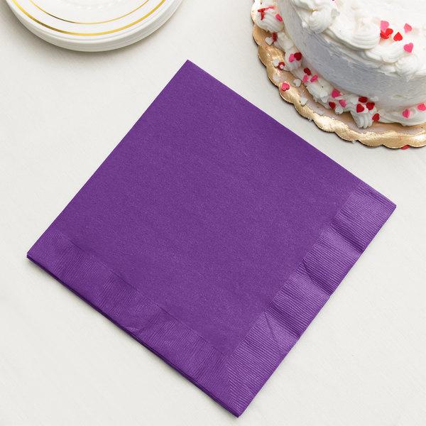 Amethyst Purple Dinner Napkin, 3-Ply - Creative Converting 318928 - 250/Case Main Image 2