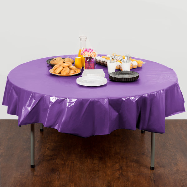 "Creative Converting 318932 82"" Amethyst Purple OctyRound Plastic Table Cover - 12/Case Main Image 3"