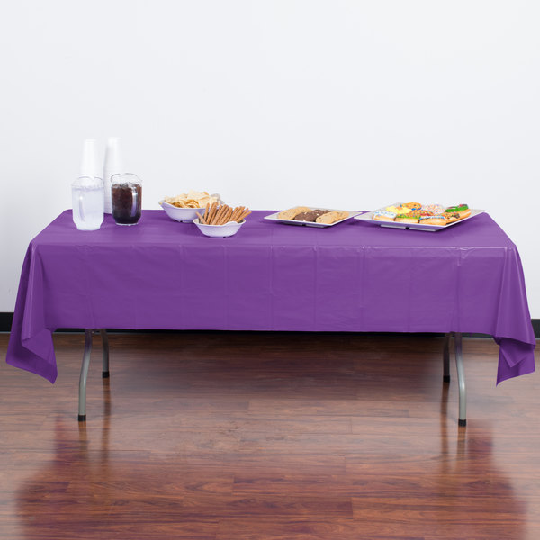 "Creative Converting 318940 54"" x 108"" Amethyst Purple Plastic Table Cover - 24/Case Main Image 3"