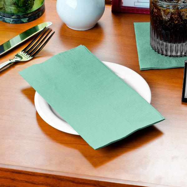 Fresh Mint Green Paper Dinner Napkin, 2-Ply 1/8 Fold - Creative Converting 318899 - 600/Case
