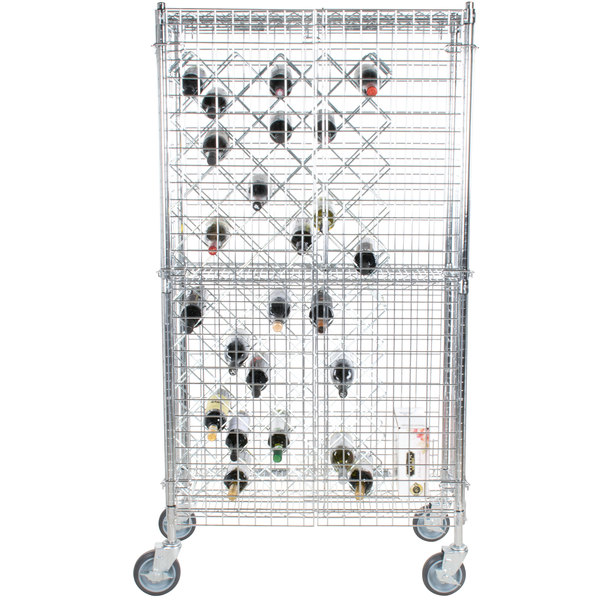 "Regency 18"" x 36"" Chromate Finish Mobile Wire Wine Rack Kit with 64"" Chrome Mobile Posts, 4 Shelves, and Security Cage"