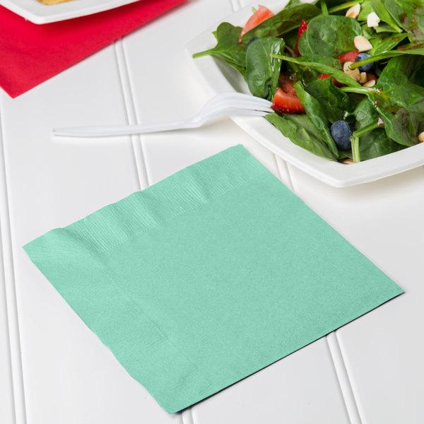 Creative Converting 318890 Fresh Mint Green 2-Ply 1/4 Fold Luncheon Napkin - 600/Case Main Image 3