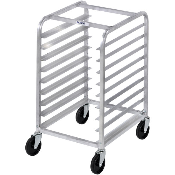 Channel 425S 9 Pan Stainless Steel End Load Half Height Sheet / Bun Pan Rack - Assembled Main Image 1