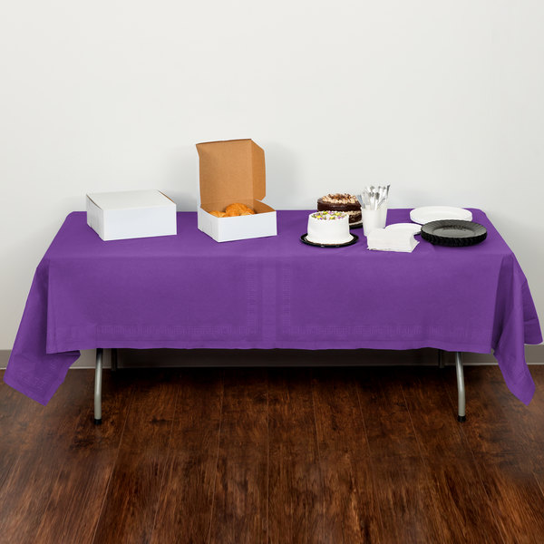 """Creative Converting 318935 54"""" x 108"""" Amethyst Purple Tissue / Poly Table Cover - 6/Case Main Image 5"""