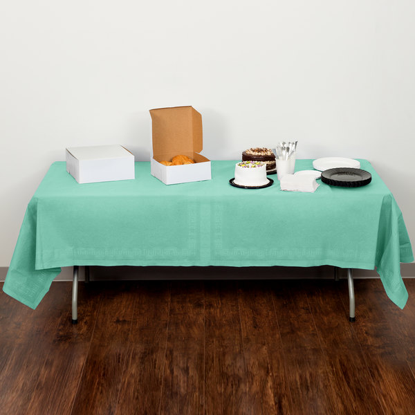 """Creative Converting 318897 54"""" x 108"""" Fresh Mint Green Tissue / Poly Table Cover - 24/Case"""