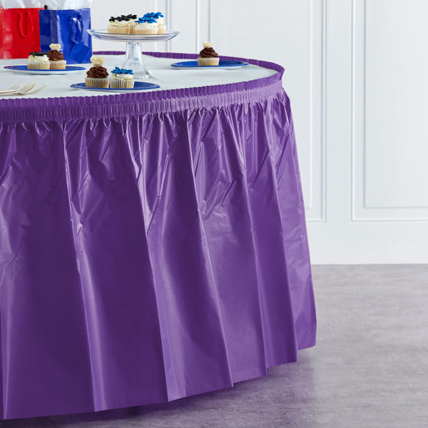 "Creative Converting 318931 14' x 29"" Amethyst Purple Plastic Table Skirt Main Image 4"